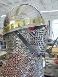 Stainless Byzantine Helm with Brass and Welded Maille